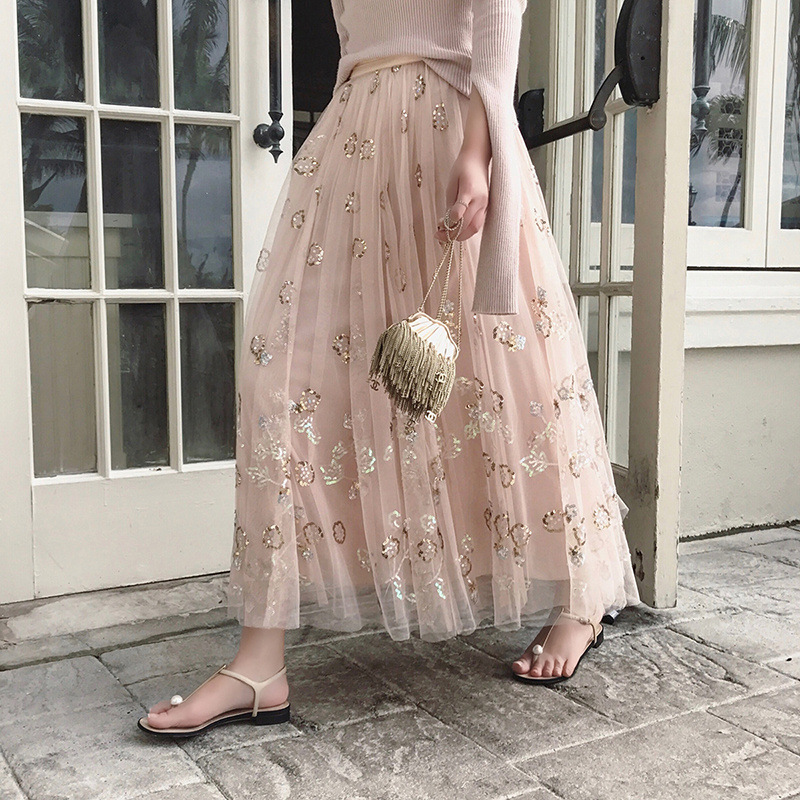 d3d70718419c tulle skirt sequins mesh tutu skirt for women summer 2019 new pink color  ball gown long