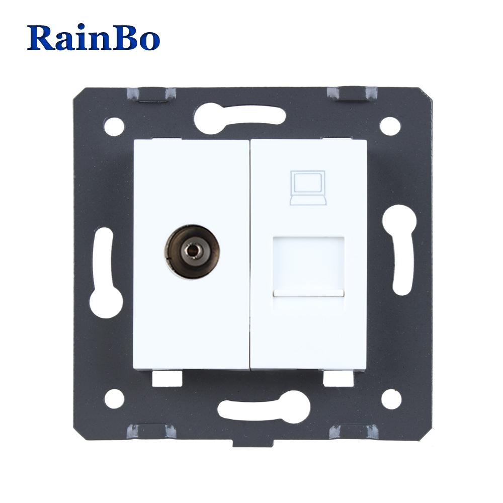 цена на RainBo Free Shipping White Plastic Materials DIY Accessory Function Key For TV and Computer Socket EU Standard A8TVCOW/B