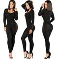 Sexy Trajes Negros Para Las Mujeres Bodycon Buzos Body Plus Mamelucos Womens Jumpsuit Playsuit Femme Largo Macacão Combinaison Simple