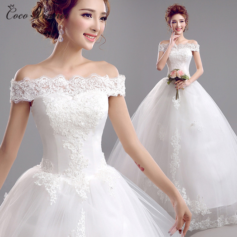 C V Bride lace wedding dress boat neck with sleeves white color