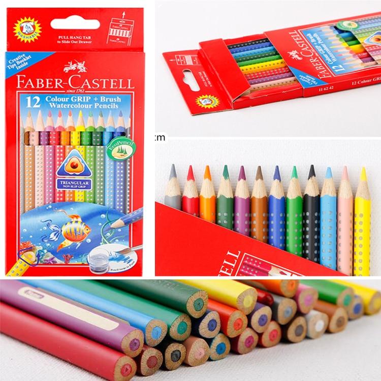 NEW FABER CASTELL 24 Grip Colored Eco Pencils Set Triangular