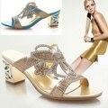 2016 nuevo verano sandalias de diamantes de Imitación con punta shallow pendiente con zapatos de boca de los pescados gruesos BAOK-3bad