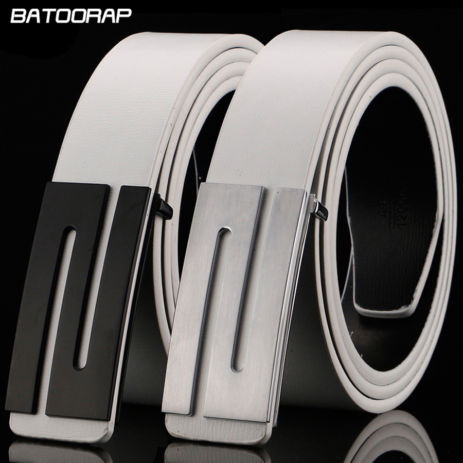 BATOORAP  2018 Fashion Designer Mens Cintura Fibbia Della Cintura Liscia  Cintura In Pelle Bianca Uomo Ceinture per il tempo libero Homme Lusso 758c59f3955