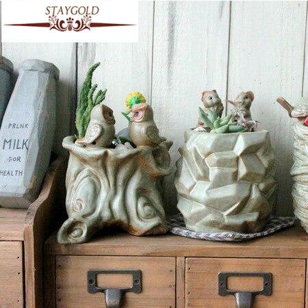 Zakka Creative Gifts Kiln Glazed Ceramic Pots Fleshy Garden Decoration Pots For Flowers Decorative Flower Pot 10.5cm