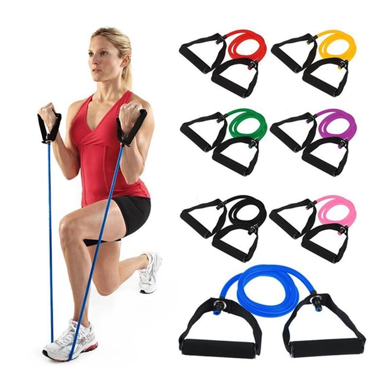Fitness Resistance Band Rope Tube Elastic Exercise for Yoga Pilates Workout Black
