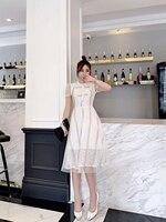 2019 Новые лоскутные женские платья белого цвета с коротким рукавом и бантом и круглым вырезом 4 размера