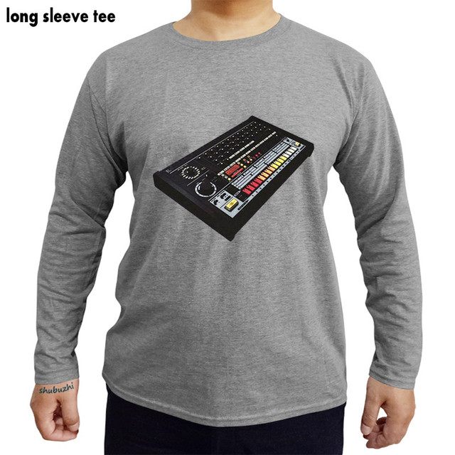 6110791c TR-808 T-Shirt 100% Cotton Moog 808 909 Acid House Drum Machine long sleeve  t shirt man cotton tshirts fashion brand top tees