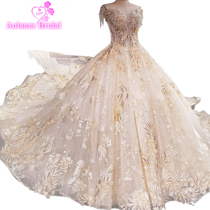 Luxury Lace Crystals Beaded Appliques Champagne Gold Wedding Dresses Bridal  Gown 2017 New Long Train Bridal Dresses For Party 72fd3ce9b07d