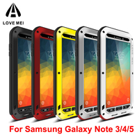 Love Mei Life Waterproof Shockproof Aluminum Phone Case on For Samsung Galaxy Note 3 4 5 Note3 Note4 Note5 Case Cover + Glass