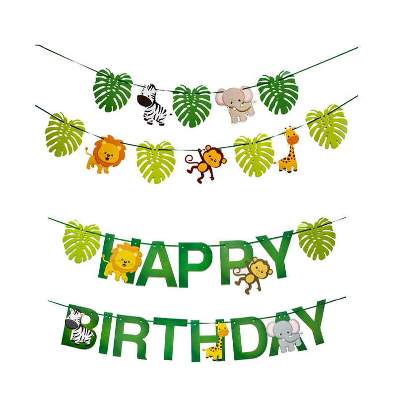 Safari Jungle Animal Birthday Banner Forest Safari Bunting Flags Baby Shower Girl Boy Kids 1th Birthday Party Decor Supplies in Banners Streamers Confetti from Home Garden