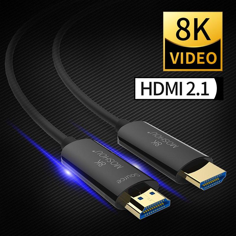 Câble MOSHOU Fiber optique HDMI 2.1 câble ultra-hd (UHD) 8K 120Hz 48Gbs avec cordon Audio vidéo HDMI amplificateur sans perte HDR 4:4:4