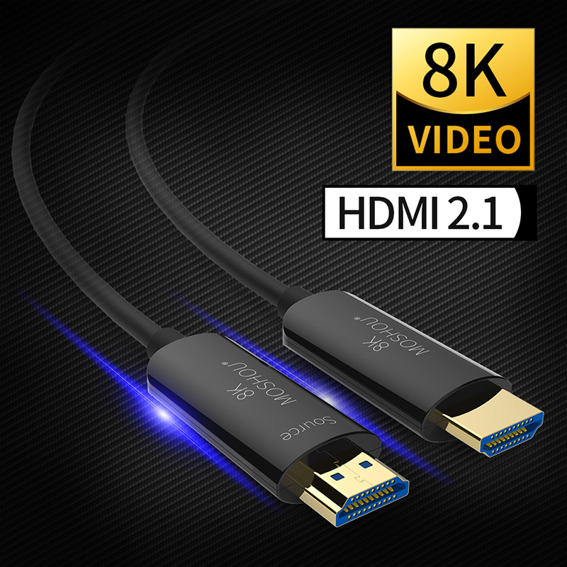 MOSHOU HDMI 2.1 Cabo de Fibra Óptica Ultra-HD (UHD) cabo K 120Hz 48Gbs 8 com Cabo de Áudio e Vídeo HDMI HDR 4:4:4 Lossless amplificador