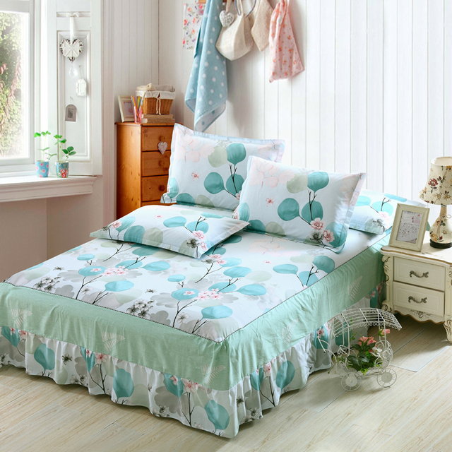 New Butterfly Love Flowers Print Bedspread 100 Cotton Bed Skirt Bed