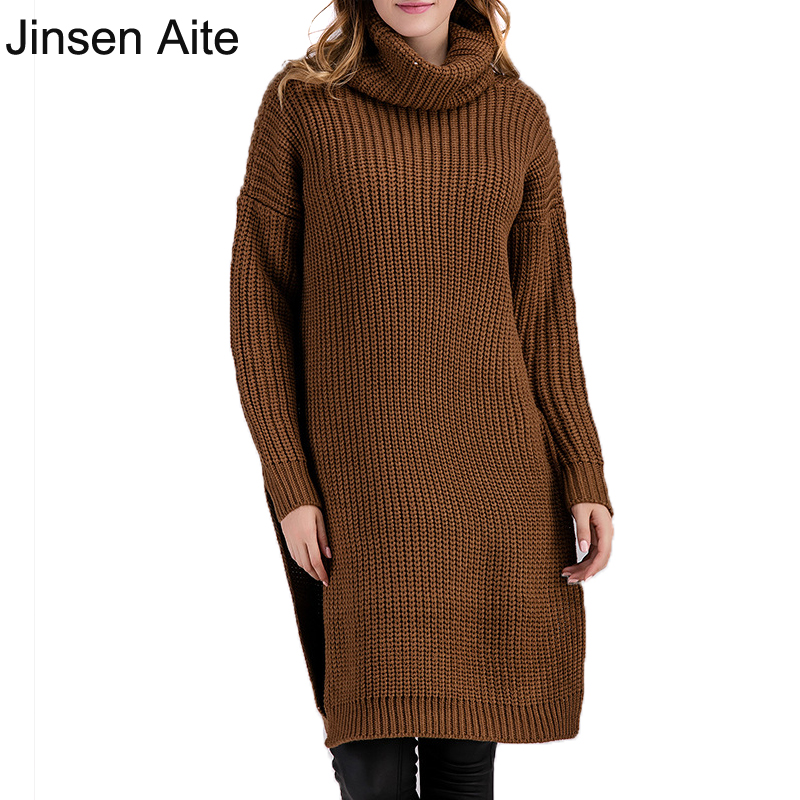 New Winter&Autumn Sweater Women Dress Plus Size Fashion Long Sleeve Knitted Sweater Casual Loose Turtleneck Femme Vestido 3089 knitted pockets women sweater mini dress v neck long sleeve dresses autumn winter 2018 loose robe femme plus size gv063