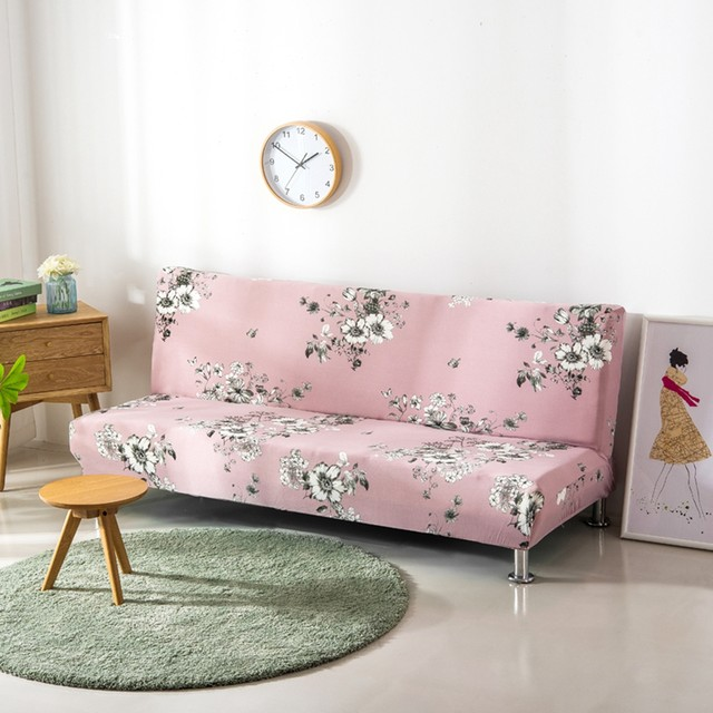Online Shop Polyester Flowers Couch Sofa Covers Armless Universal