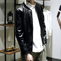 New 2016 fashion slim fit black pu leather jacket men rib stand collar casual motorcycle jacket jaqueta de couro size m-5xl /PY9