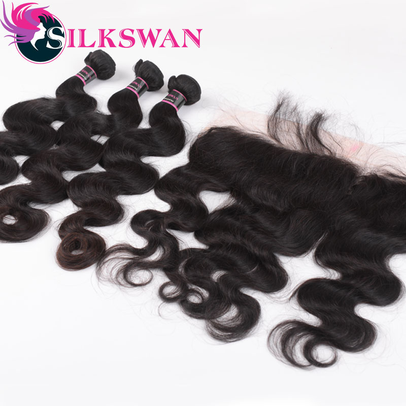 Silkswan Brazilian Body Wave Hair Middle Ratio Remy Human Hair 3 Bundles With Frontal Ear to Ear Closure Free Shipping