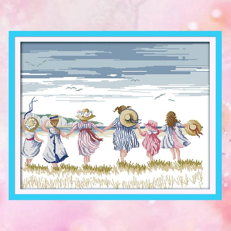 JoySunday Count Crossstitch Sister Girl Seaside Life DMC14CT11CT Needlework Kits Livingroom Bedroom Baby Room Painting Wholesale