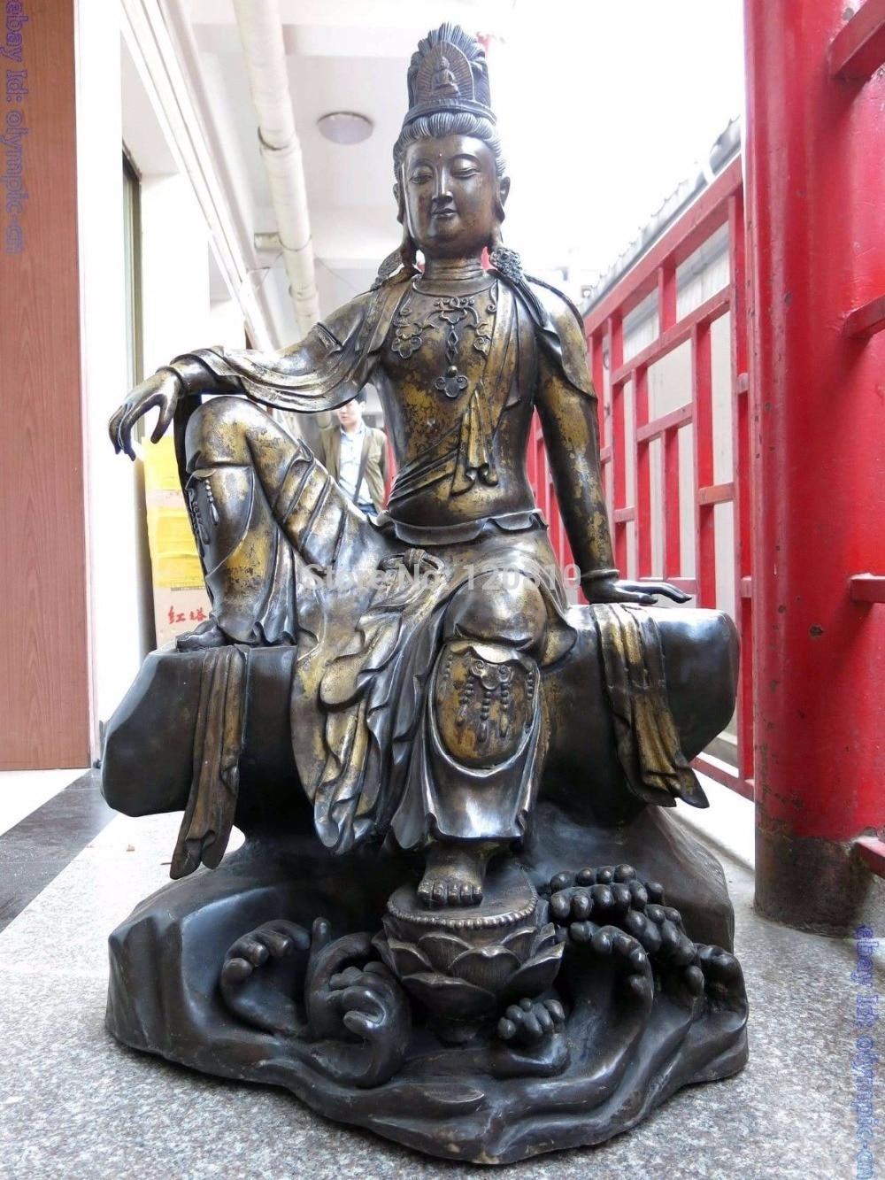 "Zhaomerui22 + + 46 ""La Chine Bronze Bouddhisme confortable kwan-yin Bodhisattva Sculpture Statue"