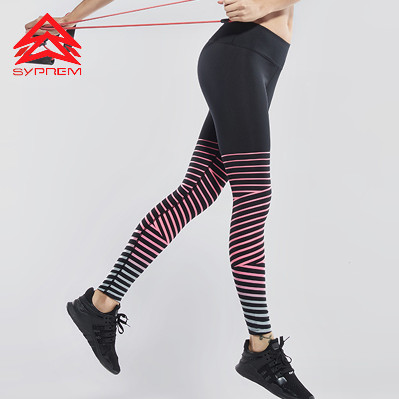 Syprem Elastic Waist Fitness Yoga Pants For Women Hot Winter Sports Leggings Girl Sportswear Compression Running Tights,WY0519