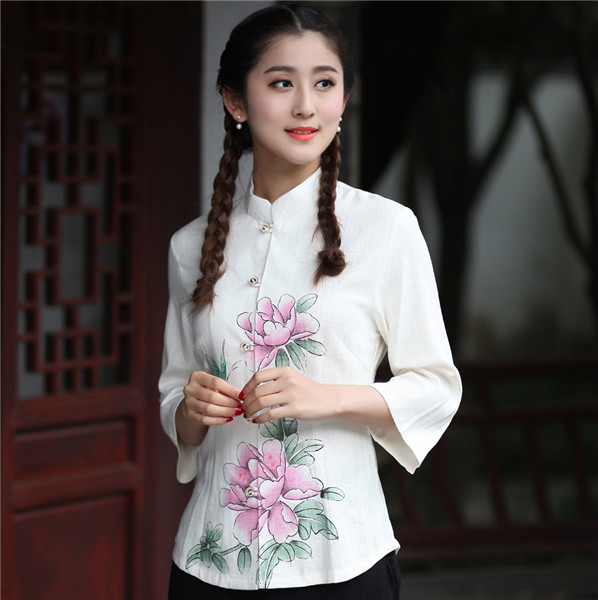 Pink Print Flower Chinese Women Tang Suit Tops Spring Summer Cotton Linen Thin Shirt Vintage Button Blouse Plus Size XXXL 2617