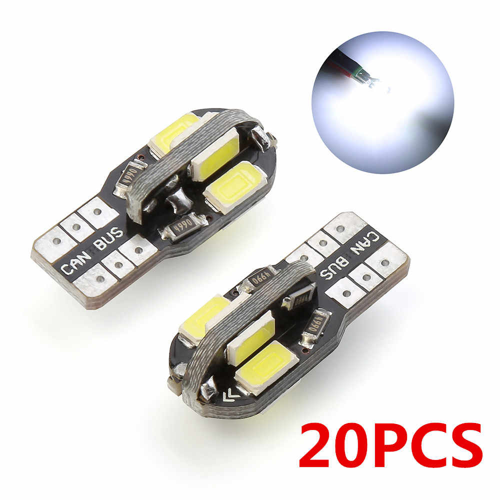 20PCS led Car Interior Bulb Canbus Error Free T10 White 8 5730 SMD 12V LED Car Side Wedge Light Lamp Bulb