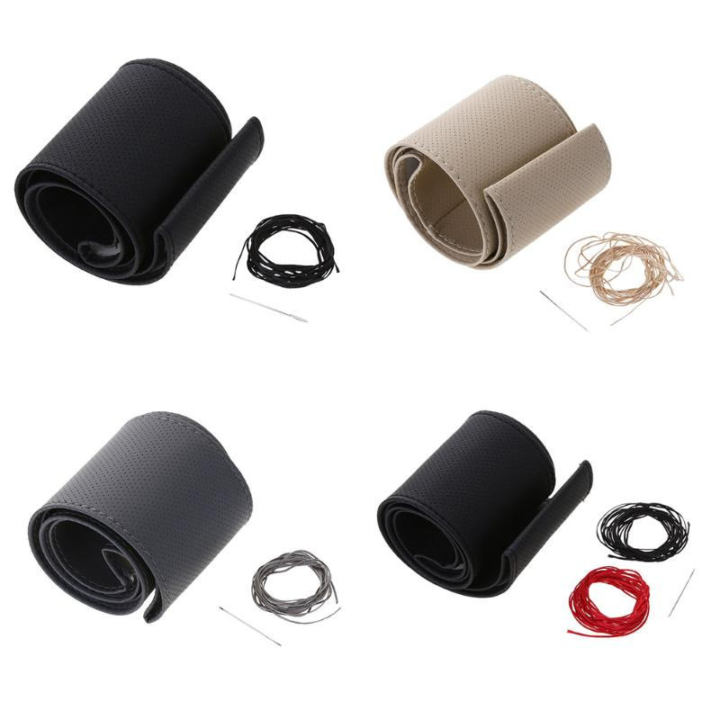 37-38cm Ultrafine Fiber Leather Steering Wheel Cover w/ Needle+Thread Car Handle Steering-wheel Covers Braid