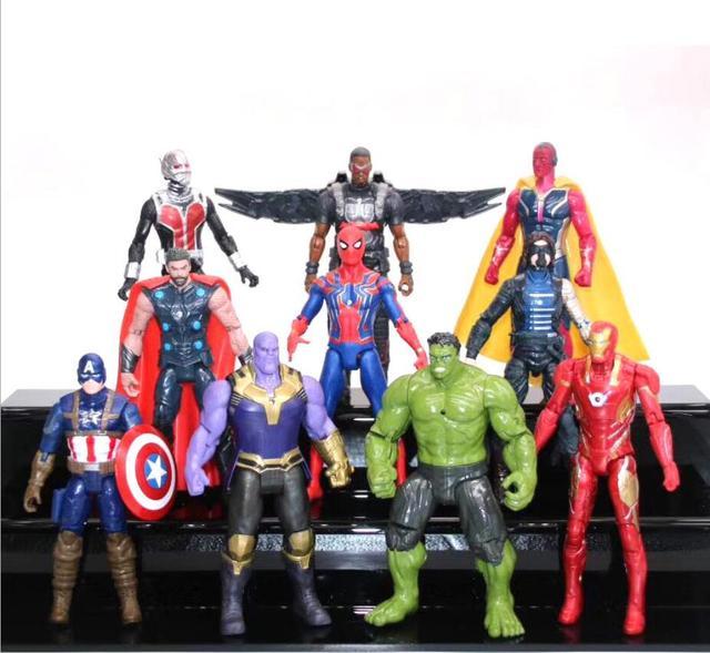Marvel Filme Infinito Guerra Modelo Figura de Ação Do Homem Aranha homem De Ferro Thor Capitão Thanos Falcon Visão Soilder Inverno Brinquedos Estatueta