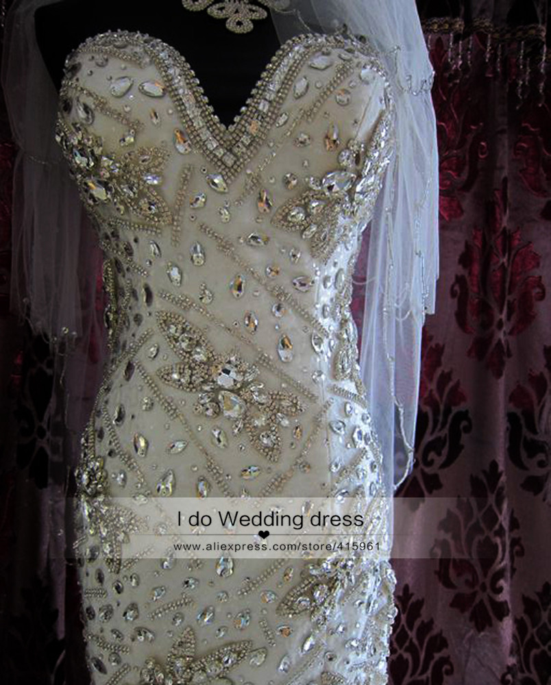 Sparkly Crystal Mermaid Wedding Gowns Real Samples Luxury Bridal