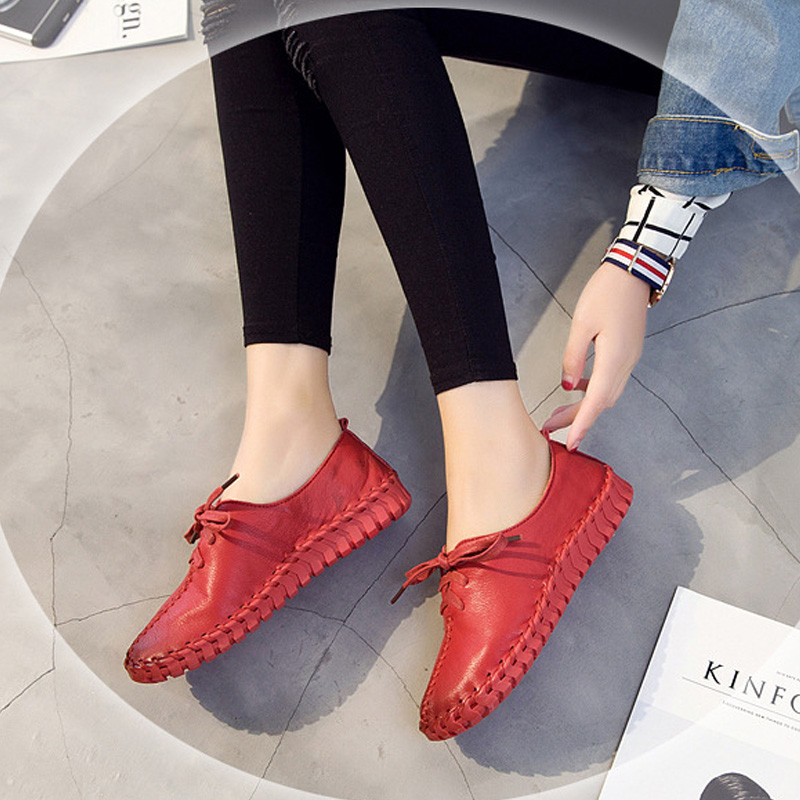Spring Autumn Womens Flat Shoes 2017 Fashion Lace Leather Flats Hand-Sewn Soft Female Genuine Leather Shoes Women Black White beyarne rivets decoration brand shoes flats women spring autumn fashion womens flats boat shoes sexy ladies plus size 11