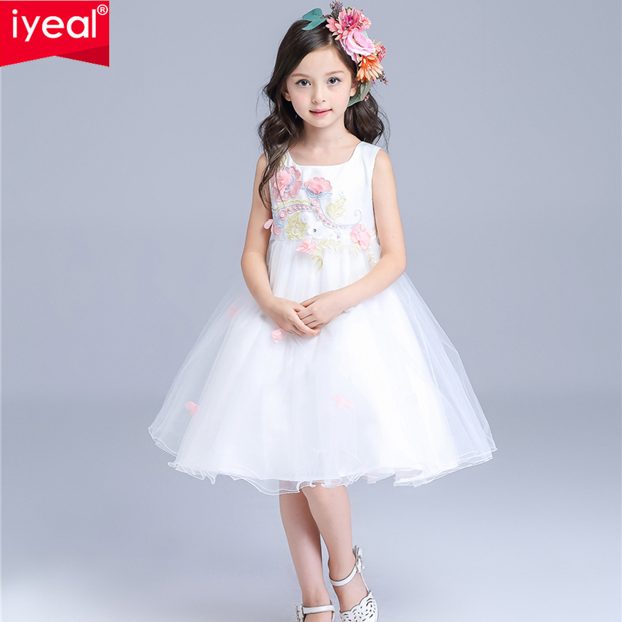 girl party dress 2016 summer fashion appliques kids flower