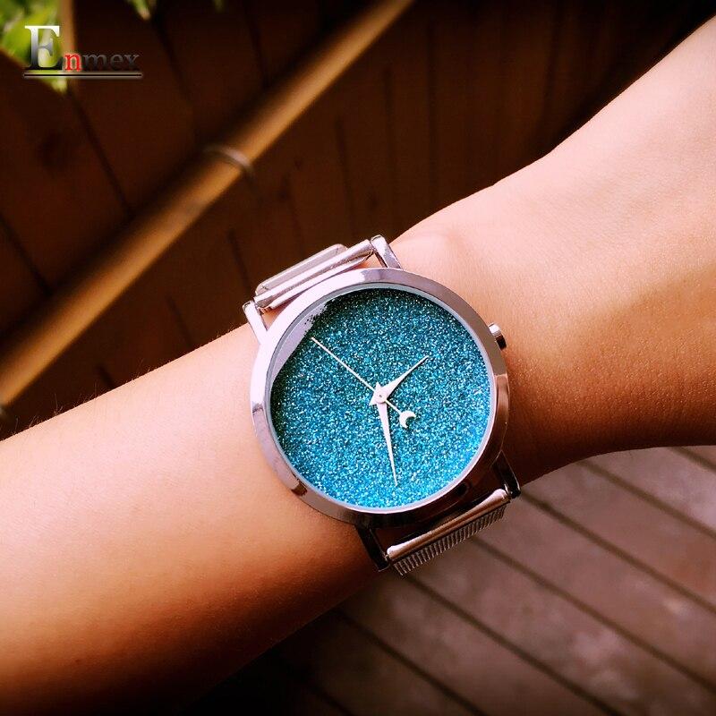 Dames cadeau nouveau style montre Enmex creative design lumière des étoiles dans le ciel nocturne simple face en acier bande quartz mode montre-bracelet