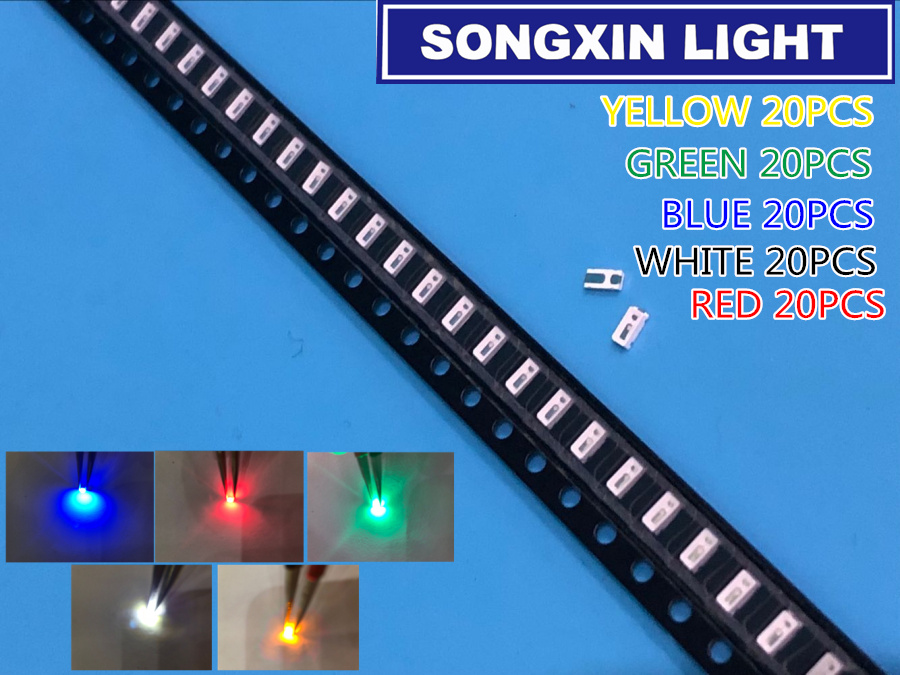 100 шт./лот 5 видов цветов 3014 SMD Led Super Bright Red/Green/Blue/Yellow/White Water Clear LED Light Diode