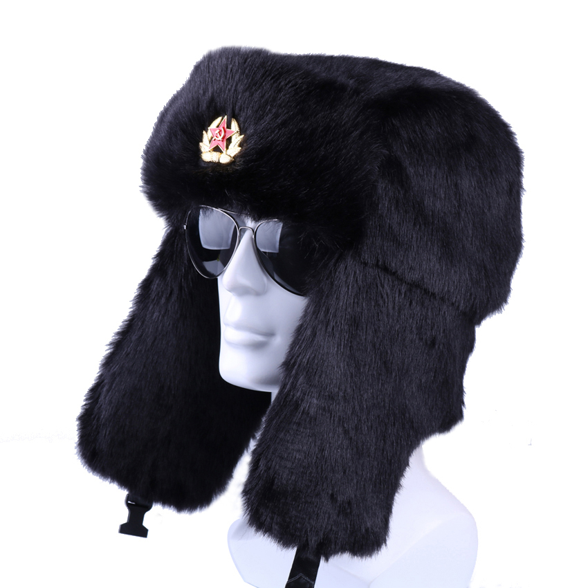 Winter Russian Ushanka Bomber Hat Soviet Badge Army Military Hats Faux  Rabbit Fur Trapper Aviator Cossack Trooper Snow Ski Caps 147b2e51afe