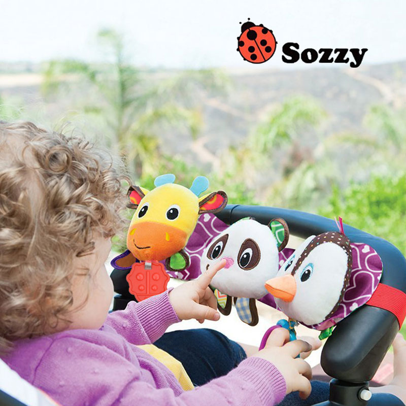 Sozzy Newborn Baby Bed Hang With Music Lamp Pull Ring Teether Infant Buggies Hanging With Sound And Light Kid Toy Gifts