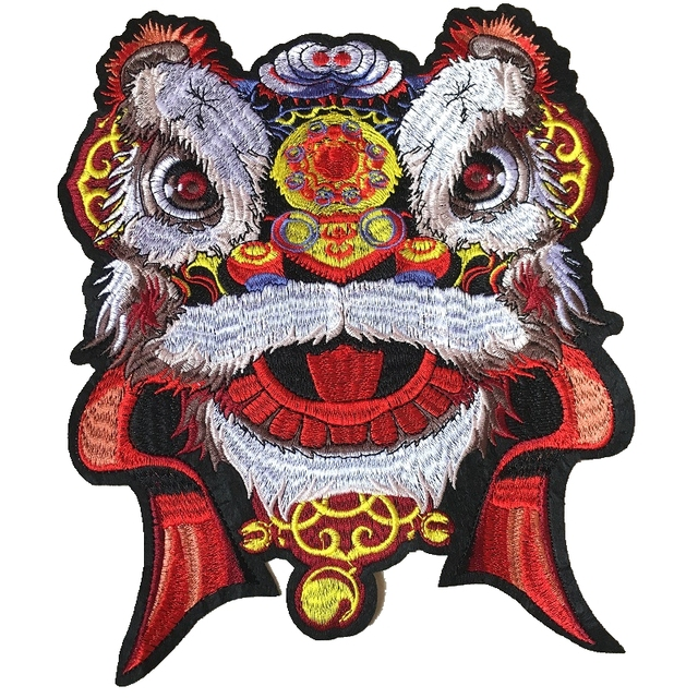 Chinese Dancing Lion Embroidered Applique Patches Sew On Patch For