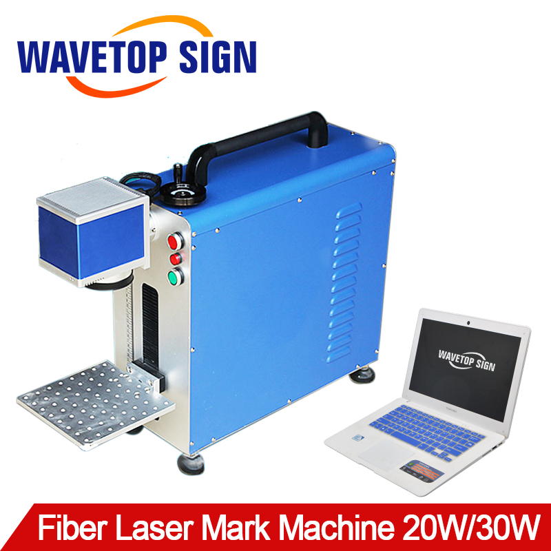 Portable Fiber Laser Marking Machine 20W 30W Max Fiber Laser Module Scan Lens Size 210x210mm Digital Galvanometer