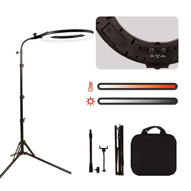 "GSKAIWEN 18""60W LED Beauty Light Eyebrow Tattoo Lamp Makeup Ring Light Dimmable Photography Studio Video Light with Battery Slot"