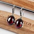 925 brincos de prata para as mulheres Da Moda brincos longos do vintage 925 sterling silver Red Garnet famale queda brincos marca de jóias