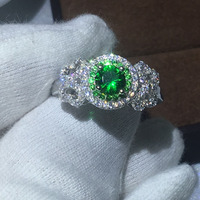 Fine Jewelry 100 Real Soild 925 Sterling Silver Rings 1ct Green AAAAA Diamonique Cz Engagement Wedding