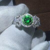 תכשיטים 100% טבעות כסף סטרלינג 925 אמיתי Soild 1ct ירוק Diamonique AAAAA Cz אירוסין טבעת הנישואין טבעת לנשים