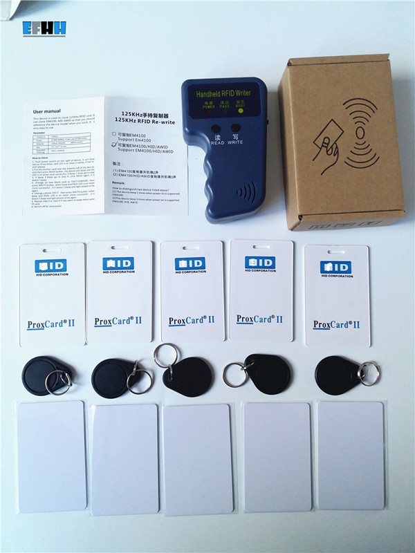 125Khz Handheld H-ID Prox RFID Copier Duplicator+5x H ID Clamshell+ 5x T5577 H ID Rewritable Card+ 5x T5577 H ID Writable Key h