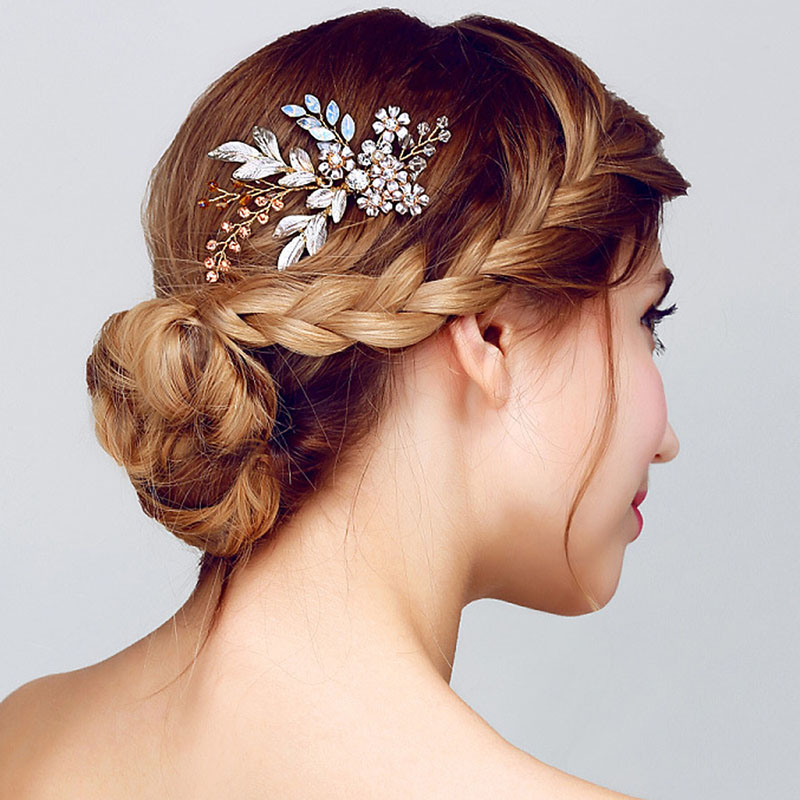 Reasonable Women Lady Hairpin Hair Comb Clip Floral Head Piece Crystal Flower Bride Hair Pins Wedding Bridal Hairs Accessories Gift @m23 Hair Jewelry