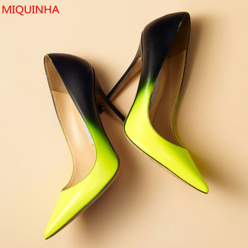 Fashion Trend Party Ladies Shoes Mixed Gradient Color Anouk Neon Pumps Pointy Toe Slip On Shallow High Heels Pumps Shoes Woman ladies handmade fashion yuoyuo 85mm peep toe slip on office party pumps shoes cke092