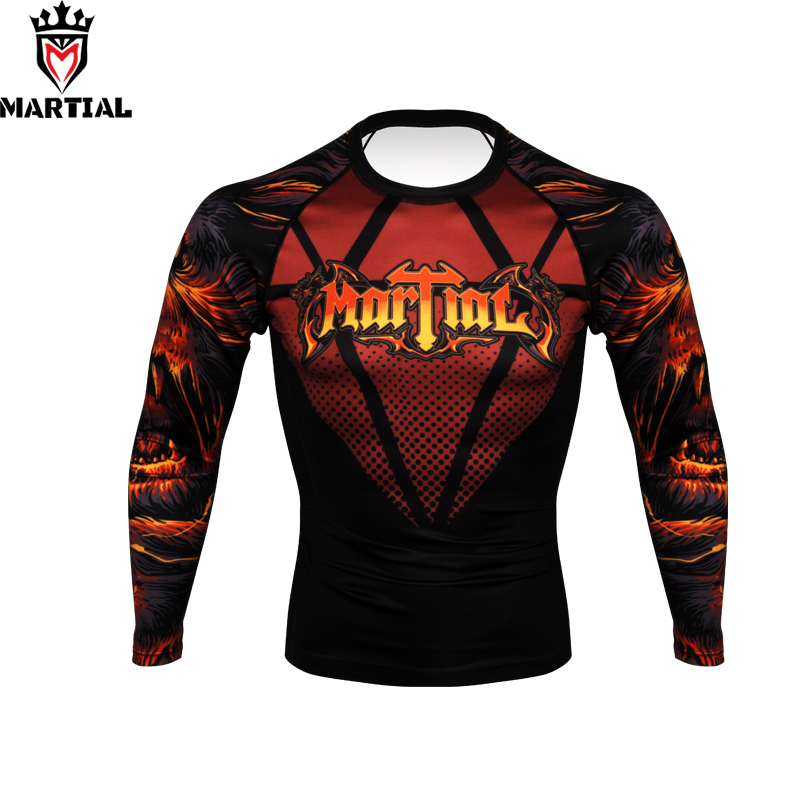 Martial :  FREE SHIPPING New Arrival Hear Me Roar Printed Full Sleeve Rashguards Fitness Mma Grappling Jersey Running Shirts
