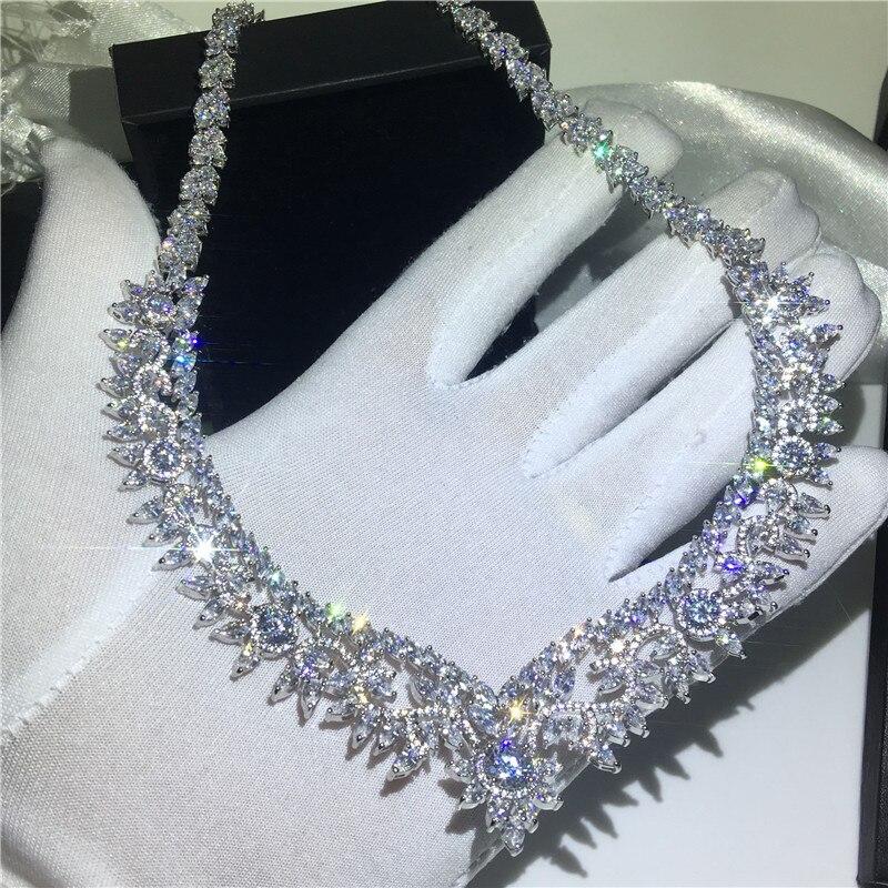 Collier fleur de luxe or blanc rempli Marquise coupe AAAAA zircon Cz déclaration fête colliers de mariage pour femmes bijoux 45 cm