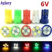Ayjery 100 шт 6V 6,3 V T10 194 168 1210 4 SMD светодиодный свет лампы белого и синего цвета-зеленый, красный, желтый, хвост настольная лампа, автомобильное освещение для пинбол
