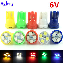 AYJERY 100 PCS 6V 6.3V T10 194 168 1210 4 SMD LED Light Bulb White Blue Green Red Yellow Tail Reading Lamp Car Light For Pinball(China)