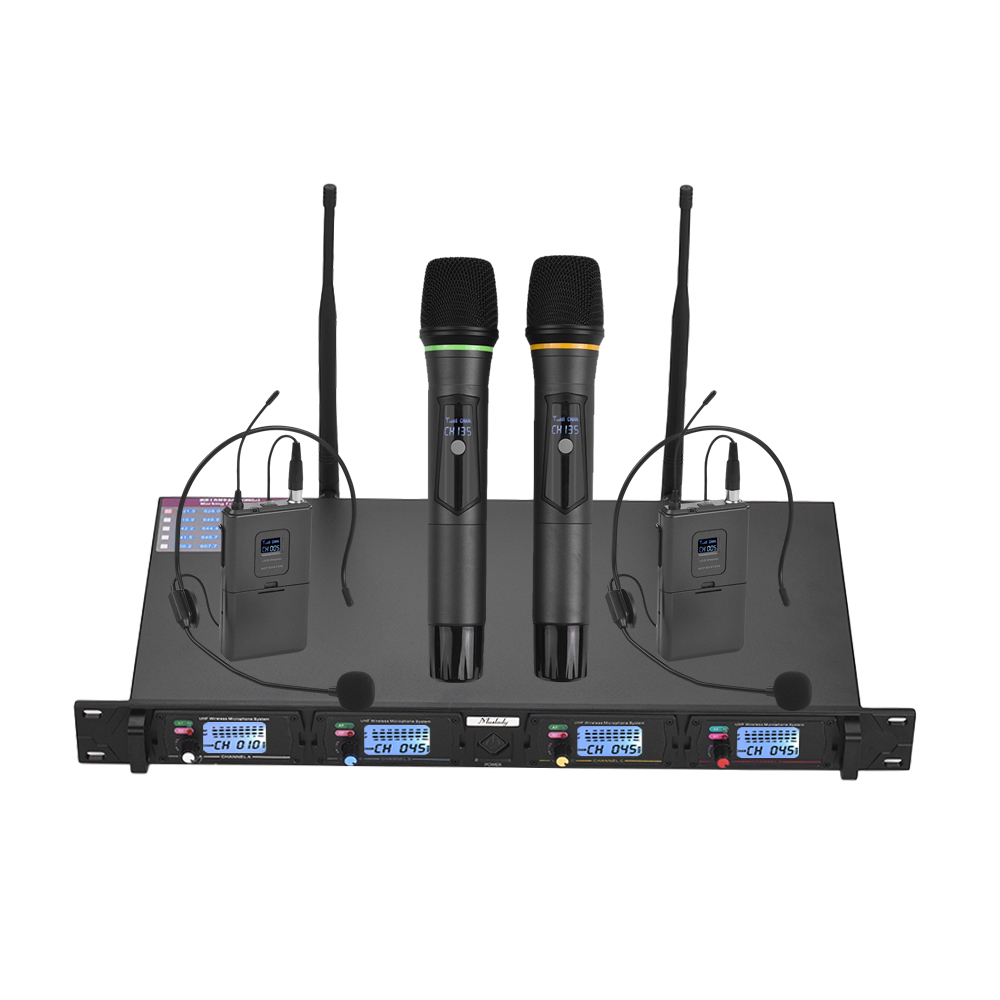 4 channel uhf wireless microphone system 2 headset mics with bodypack transmitters 2 handheld. Black Bedroom Furniture Sets. Home Design Ideas