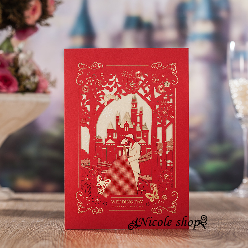 10psc Invitations Hollow Out High Grade Castle Wedding Invitation Card  Flower Party Supplies Decoration Mariage